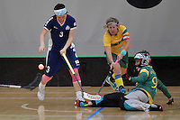 Japan&rsquo;s Yui Goto and Australia&rsquo;s Sarah Moulton in action during the World Floorball Championships 2017 Qualification for Asia Oceania Region Final - Australia v Japan at ASB Sports Centre , Wellington, New Zealand on Sunday 5 February 2017.<br /> Photo by Masanori Udagawa<br /> www.photowellington.photoshelter.com.