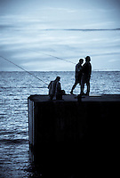 Fishermen on Bayfield Pier Bayfield Ontario - Selenium Toning effect