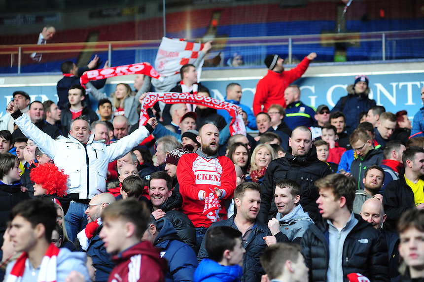 Middlesbrough fans celebrate their win over Bolton Wanderers at the end of the game<br /> <br /> Photographer Chris Vaughan/CameraSport<br /> <br /> Football - The Football League Sky Bet Championship - Bolton Wanderers v Middlesbrough - Saturday 16th April 2016 - Macron Stadium - Bolton<br /> <br /> &copy; CameraSport - 43 Linden Ave. Countesthorpe. Leicester. England. LE8 5PG - Tel: +44 (0) 116 277 4147 - admin@camerasport.com - www.camerasport.com
