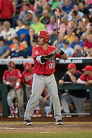 Cesar Salazar #12 of the Arizona Wildcats bats during a College World Series Finals game between the Coastal Carolina Chanticleers and Arizona Wildcats at TD Ameritrade Park on June 27, 2016 in Omaha, Nebraska. (Brace Hemmelgarn/Four Seam Images)