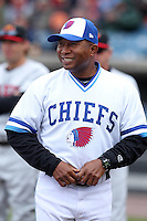Syracuse Chiefs manager Tony Beasley #13 during the opening game of the International League season against the Rochester Red Wings at Alliance Bank Stadium on April 5, 2012 in Syracuse, New York.  Rochester defeated Syracuse 7-4.  (Mike Janes/Four Seam Images)