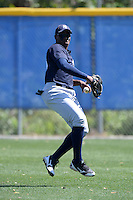 Outfielder Yeicok Calderon (28) of the New York Yankees organization during practice before a minor league spring training game against the Toronto Blue Jays on March 16, 2014 at the Englebert Minor League Complex in Dunedin, Florida.  (Mike Janes/Four Seam Images)