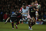 Ulster number 8 Nick Williams Nanai looks for support as the Dragons scrum half Jonathan Evans closes in..Celtic League.Newport Gwent Dragons v Ulster.Rodney Parade.26.10.12.©Steve Pope