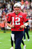 July 27, 2017: New England Patriots quarterback Tom Brady (12) gets ready to do drills at the New England Patriots training camp held on the at Gillette Stadium, in Foxborough, Massachusetts. Eric Canha/CSM