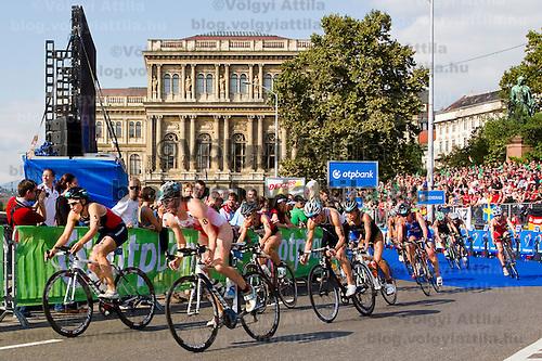 Competitors ride their bikes during the ITU women's elite triathlon world championships series final in Budapest, Hungary, Sunday, 12. September 2010. ATTILA VOLGYI