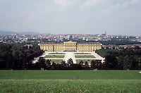 Vienna: Schonbrunn Palace--J.B. Fischer Von Erlach, 1696-1713; Facade changed in Reign of Maria Theresa. 1441 rooms (including closets?)  Photo '87.