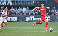 Portland, OR - Wednesday June 28, 2017: Emily Sonnett, Desiree Scott during a regular season National Women's Soccer League (NWSL) match between the Portland Thorns FC and FC Kansas City at Providence Park.