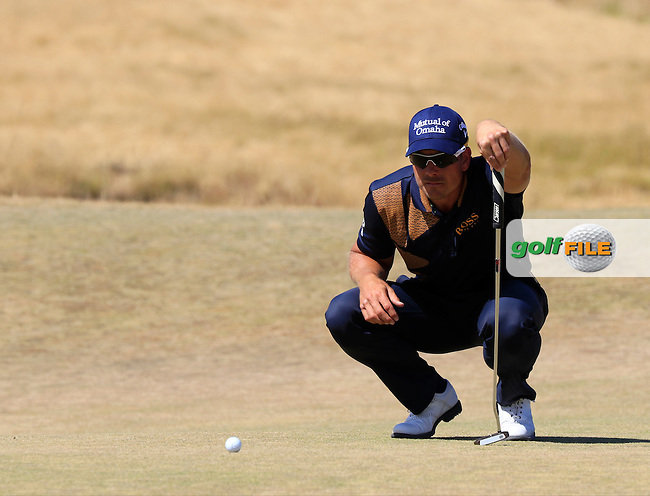 Henrik STENSON (SWE) lines up his putt on the 6th green during Sunday's Final Round of the 2015 U.S. Open 115th National Championship held at Chambers Bay, Seattle, Washington, USA. 6/21/2015.<br /> Picture: Golffile   Eoin Clarke<br /> <br /> <br /> <br /> <br /> All photo usage must carry mandatory copyright credit (&copy; Golffile   Eoin Clarke)