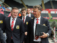 Pictured L-R: Wayne Rooney and manager Louis Van Gaal of Manchester United arrive Sunday 30 August 2015<br /> Re: Premier League, Swansea v Manchester United at the Liberty Stadium, Swansea, UK