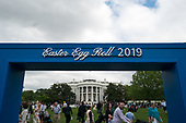 The White House is seen under a sign for the Easter Egg Roll, in Washington, D.C. on April 22, 2019. <br /> Credit: Kevin Dietsch / Pool via CNP