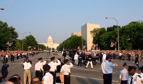 Ronald Reagan Funeral Procession along Constitution Ave Washington DC