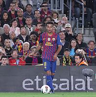 5/05/2012. Barcelona, Spain. La Liga. Picture show Thiago in action during match FC Barcelona against RCD ESpanyol at Camp Nou