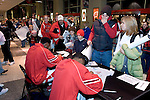 MADISON, WI - OCTOBER 24: Fans of the Wisconsin Badgers line up for autographs after the red/white scrimmage at the Kohl Center on October 24, 2006 in Madison, Wisconsin. The White team defeated the Red team 72-69. (Photo by David Stluka)