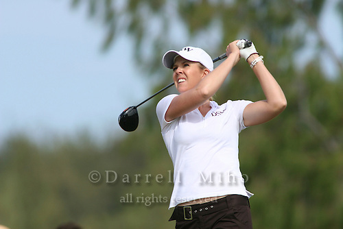 February 18, 2006; Kahuku, HI - Jill McGill tees off during the final round of the LPGA SBS Open at Turtle Bay Resort...Mandatory photo credit: Darrell Miho.© Darrell Miho