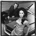 """1994:  Portrait of Diamanda Galas and John Paul Jones, sitting on a convertible car  in Jersey City, New Jersey,  shot for the release of their album """"The Sporting Life""""..Copyright 2010 Catherine McGann/ All RIghts Reserved"""
