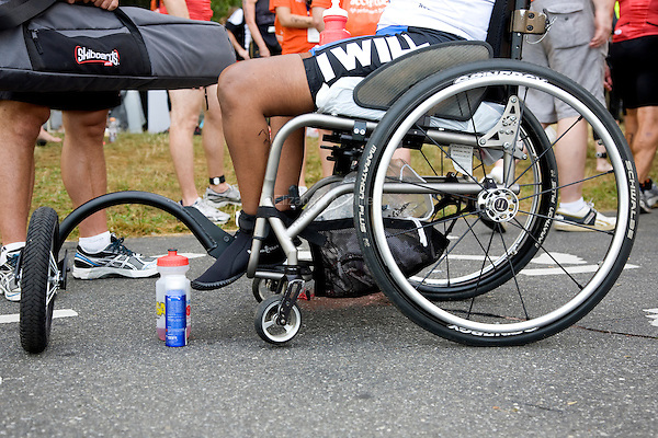 Minda prior to competing in the Aquaphor New York City Triathlon in New York on July 8, 2012.