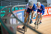 Picture by Alex Whitehead/SWpix.com - 11/10/2017 - British Cycling - Great Britain Cycling Team Sprint Practice Session - HSBC UK National Cycling Centre, Manchester, England - Phil Hindes and Jason Kenny.