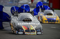 Sept. 30, 2012; Madison, IL, USA: NHRA funny car driver Matt Hagan (left) and Ron Capps during the Midwest Nationals at Gateway Motorsports Park. Mandatory Credit: Mark J. Rebilas-