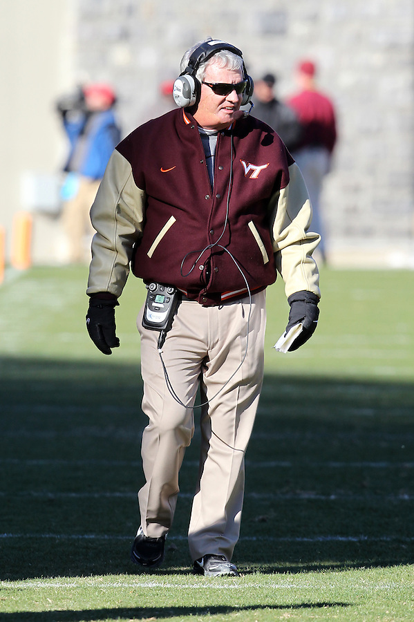 Nov 27, 2010; Charlottesville, VA, USA;  Virginia Tech head coach Frank Beamer during the game at Lane Stadium. Virginia Tech won 37-7. Mandatory Credit: Andrew Shurtleff