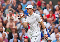 London, England, 4th July, 2016, Tennis, Wimbledon, Andy Murray (GBR) reacts<br /> Photo: Henk Koster/tennisimages.com