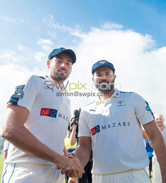 Picture by Allan McKenzie/SWpix.com - 23/08/2016 - Cricket - Specsavers County Championship - Yorkshire County Cricket Club v Nottinghamshire County Cricket Club - North Marine Road, Scarborough, England - Jack Leaning & Azeem Rafiq are presented with their county caps.