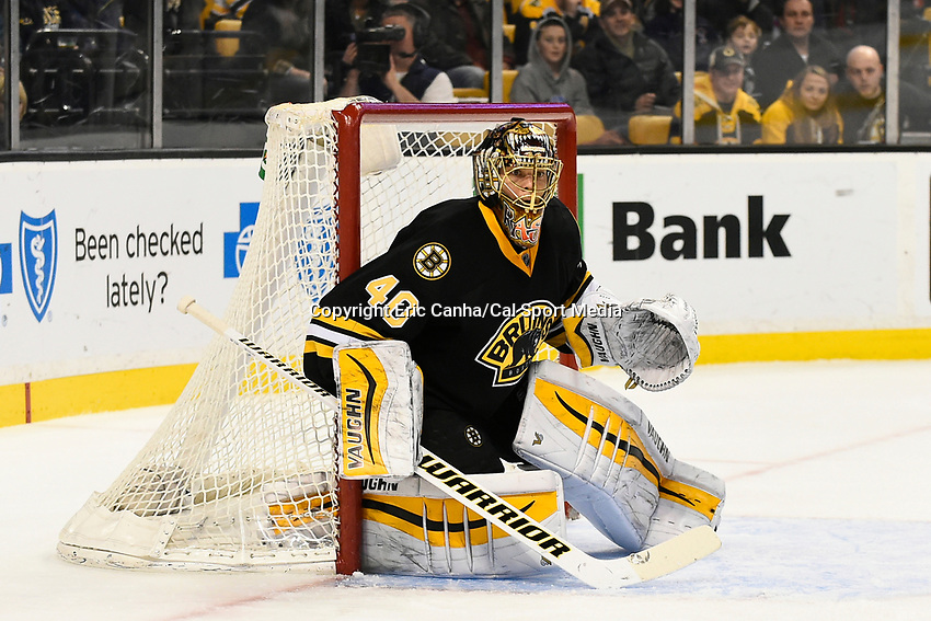 January 31, 2015 - Boston, Massachusetts, U.S. - Boston Bruins goalie Tuukka Rask (40) in game action during the second period of the NHL game between the Los Angeles Kings and the Boston Bruins held at TD Garden in Boston Massachusetts. Boston defeated the Kings 3-1 in regulation time. Eric Canha/CSM