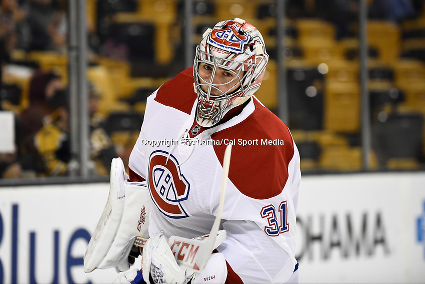 Saturday, October 10, 2105: Montreal Canadiens goalie Carey Price (31) gets ready for the the NHL game between the Montreal Canadiens and the Boston Bruins held at TD Garden, in Boston, Massachusetts. Montreal defeats Boston 4-2 in regulation time. Eric Canha/CSM