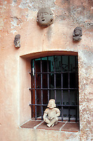 A window in the the Robert Brady House-Museum in Cuernavaca, Morelos, Mexico. The casa de la Torre, the former house of American Robert Brady, now houses his collection of folk art from Mexico and around the world.