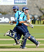 Scottish Saltires V Leicester Foxes, CB40 series, at Mannofield, Aberdeen - one of the few batting highspots in the Scotland innings was the useful 46 from Richie Berrington (nearest camera, completing a run with capt Gordon Drummond - Picture by Donald MacLeod 22.06.10 - mobile 07702 319 738 - words (if required) from William Dick 077707 83923