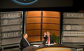 Rick Warren, left, and United States President George W. Bush participate in Saddleback Civil Forum on Global Health at the Newseum in Washington, D.C., Monday, December 1, 2008. <br /> Credit: Mannie Garcia / Pool via CNP