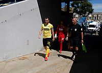 18th July 2020; The Kiyan Prince Foundation Stadium, London, England; English Championship Football, Queen Park Rangers versus Millwall; Alex Pearce of Millwall walking from the away tunnel onto the pitch before kick off with a linesmen