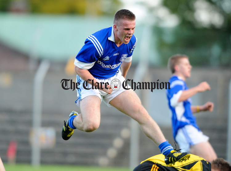 11 Cratloe's Sean Collins celebrate's a goal against Ennistymon  during their senior fooball championship meeting at Cusack park. Photograph by John Kelly.