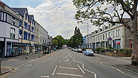 Walter Road, one of the main roads in the centre of Swansea is empty at 7pm, the time the FIFA World Cup England game. 03 July 2018