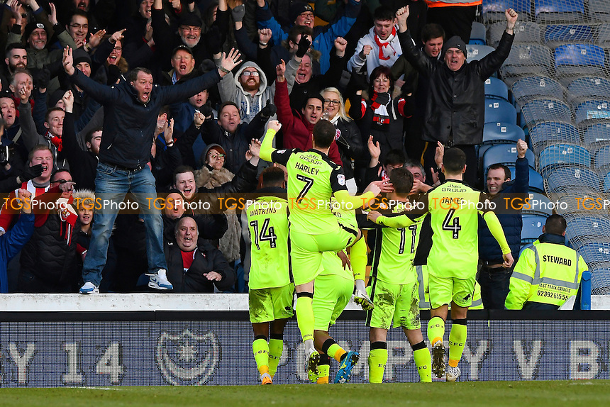 David Wheeler of Exeter City (11) celebrates his goal with the Exeter fans during Portsmouth vs Exeter City, Sky Bet EFL League 2 Football at Fratton Park on 28th January 2017