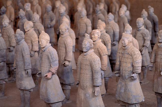 CHINA, SHAANXI PROVINCE, XIAN, QIN SHI HUANG DI TOMB, TERRA COTTA SOLDIERS