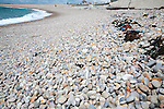 Rounded pebbles on shingle beach, Chesil Beach, Chiswell, Isle of Portland, Dorset, England, UK