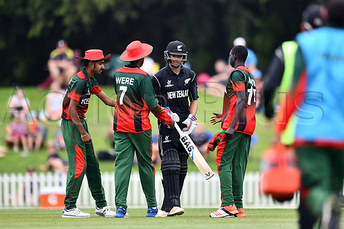 17th January 2018, Hagley Oval, Christchurch, New Zealand; Under 19 Cricket World Cup, New Zealand versus Kenya;  Kenyan players congragulate as Jakob Bhula walks back after his innings and becoming the highest ever individual score in U-19 World Cup History