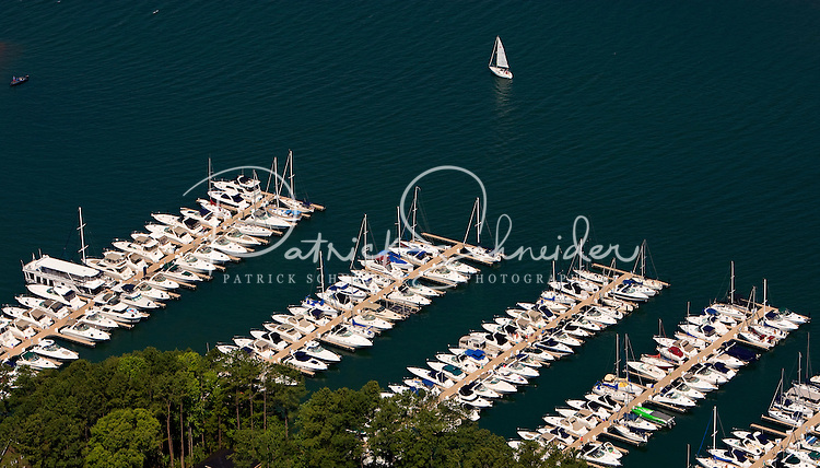 Aerial photo of boats docked on Lake Norman in Mecklenburg County, NC, taken May 2008.