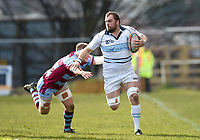 Jarad Williams of Bedford Blues takes on the Rotherham defence. Greene King IPA Championship match, between Rotherham Titans and Bedford Blues on January 17, 2018 at Clifton Lane in Rotherham, England. Photo by: Patrick Khachfe / Onside Images