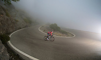 Boris Vallée (BEL/Lotto-Belisol) descending Sa Calobra in the mist during the january 2014 training camp
