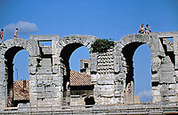 Detail of arches at the Colosseum, Rome, Italy