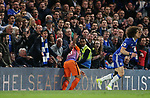 Chelsea's David Luiz tussles with Manchester City's Sergio Agero as the crowd look on during the Premier League match at the Stamford Bridge Stadium, London. Picture date: April 5th, 2017. Pic credit should read: David Klein/Sportimage