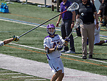 Josh Egan (#43) passes the ball as UAlbany Lacrosse defeats Vermont 14-4  in the American East Conference Championship game at Casey Stadium, May 5.