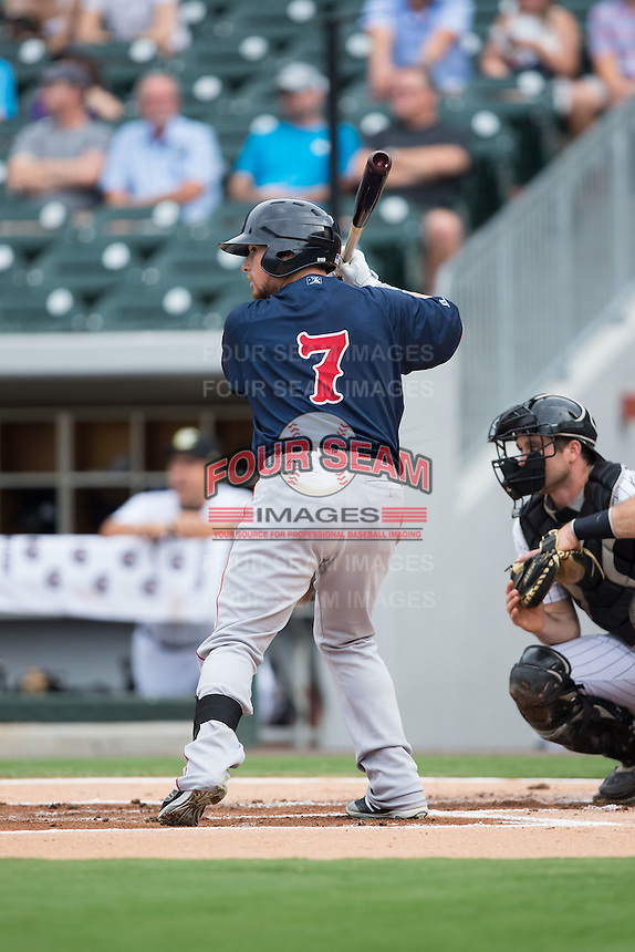 Christian Vazquez (7) of the Pawtucket Red Sox at bat against the Charlotte Knights at BB&T BallPark on July 6, 2016 in Charlotte, North Carolina.  The Knights defeated the Red Sox 8-6.  (Brian Westerholt/Four Seam Images)