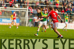 Mark Griffin Kerry in action against Michael Shields Cork in the National Football League at Pairc Ui Rinn, Cork on Sunday.