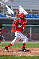 Auburn Doubledays outfielder Telmito Agustin (3) at bat during a game against the Batavia Muckdogs on September 7, 2015 at Falcon Park in Auburn, New York.  Auburn defeated Batavia 11-10 in ten innings.  (Mike Janes/Four Seam Images)