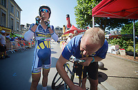 Johnny Hoogerland (NLD) getting ready for the TT<br /> <br /> Tour de France 2013<br /> stage 11: iTT Avranches - Mont Saint-Michel <br /> 33km