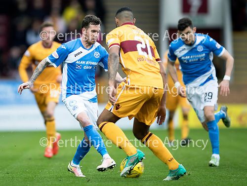 Motherwell v St Johnstone…18.03.17     SPFL    Fir Park<br />Danny Swanson is closed down by Zak Jules<br />Picture by Graeme Hart.<br />Copyright Perthshire Picture Agency<br />Tel: 01738 623350  Mobile: 07990 594431