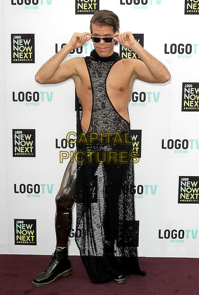 Perez Hilton (Mario Armando Lavandeira, Jr.).2013 NewNowNext Awards held at The Fonda Theatre, Los Angeles, California, USA, 13th April 2013..full length black lace netting cut out sleeveless chest sunglasses weight-loss gold lame shiny leggings  doc martens dms boots .CAP/ADM/KB.©Kevan Brooks/AdMedia/Capital Pictures