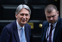 Philip Hammond, Chancellor of the Exchequer, leaves Number 11 Downing Street to go to Parliament for PMQ's.